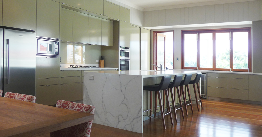 Large kitchen with marble benchtop for happy Bulimba client